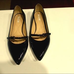Geox Patent/Leather Pointed Toe Flats (7, Black)